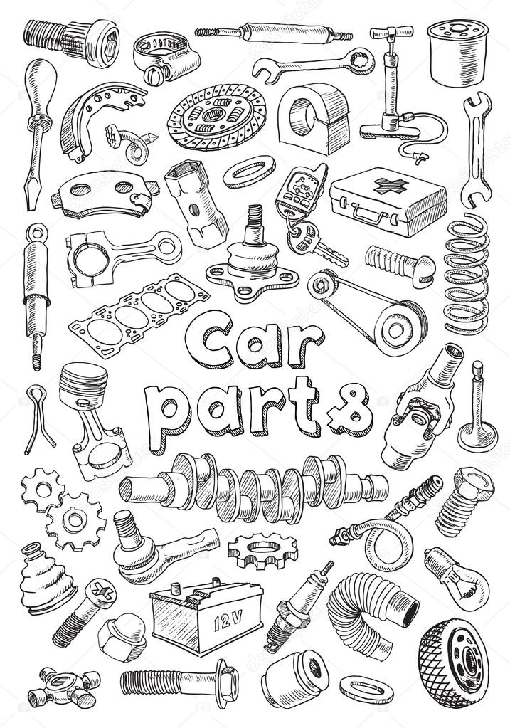 Car parts in freehand drawing style — Stock Vector © kniazev #58433873