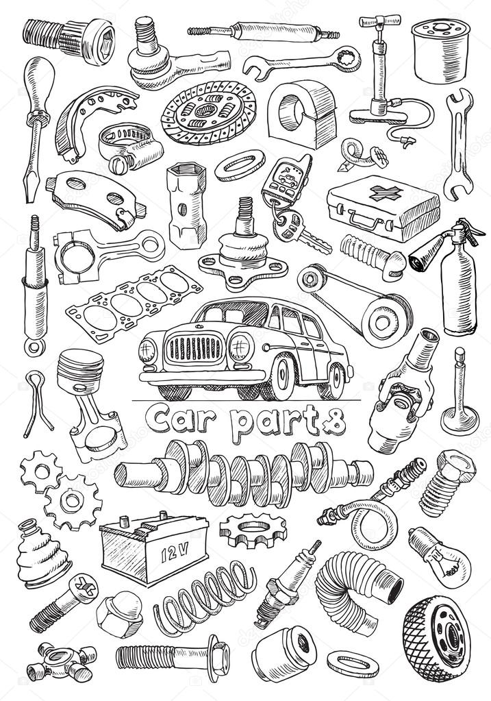 Car parts in freehand drawing style — Stock Vector © kniazev #58433903