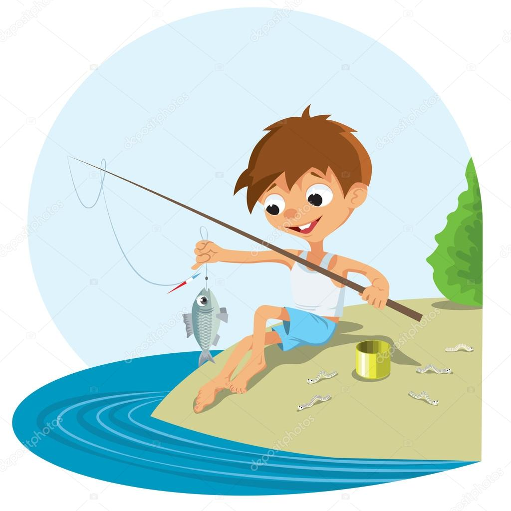 Boy fishing in a river