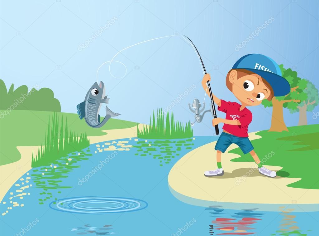 Niño pescando en ...