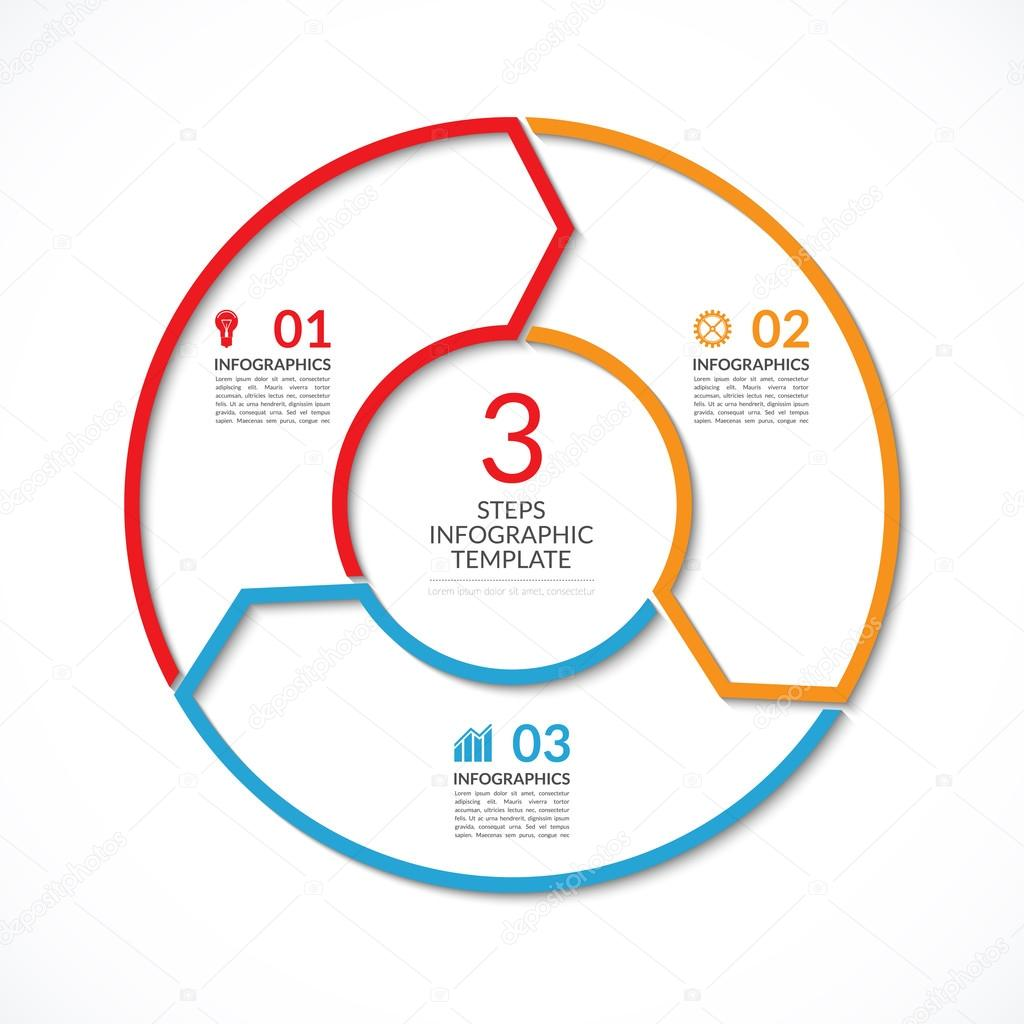 infographic circle template simple vector concept banner with 3 options steps parts