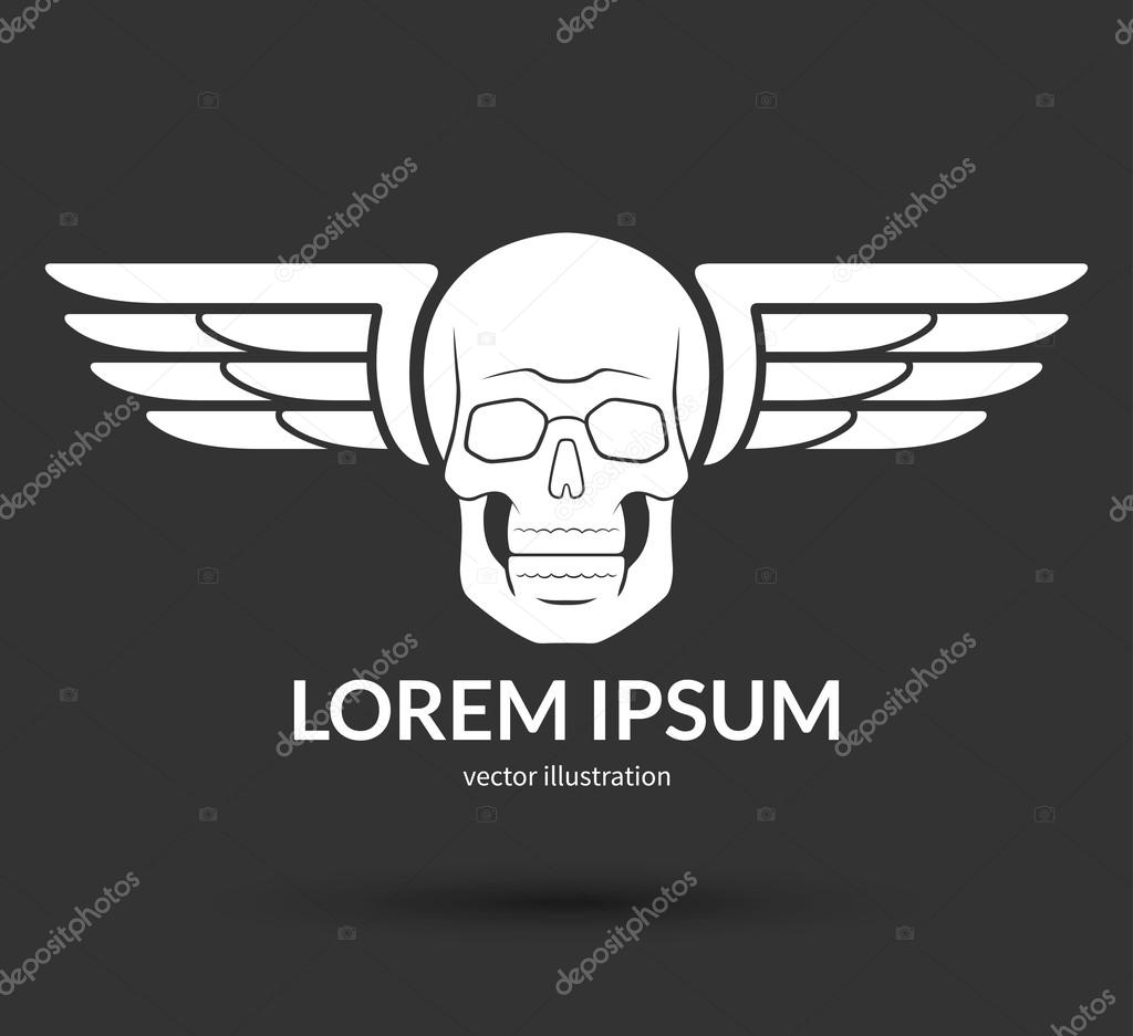 Skull With Wings Logo Emblem Icon Symbol Sign Stock Vector