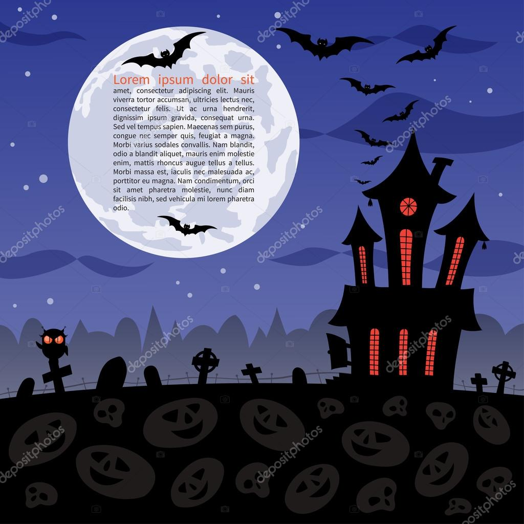 Halloween party background with haunted house, graves, bats, owl ...