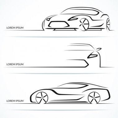 Set of modern car silhouettes. Sports car in three angles. Vector illustration stock vector
