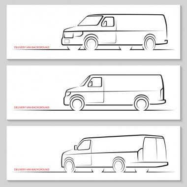 Set of vector delivery van  silhouettes