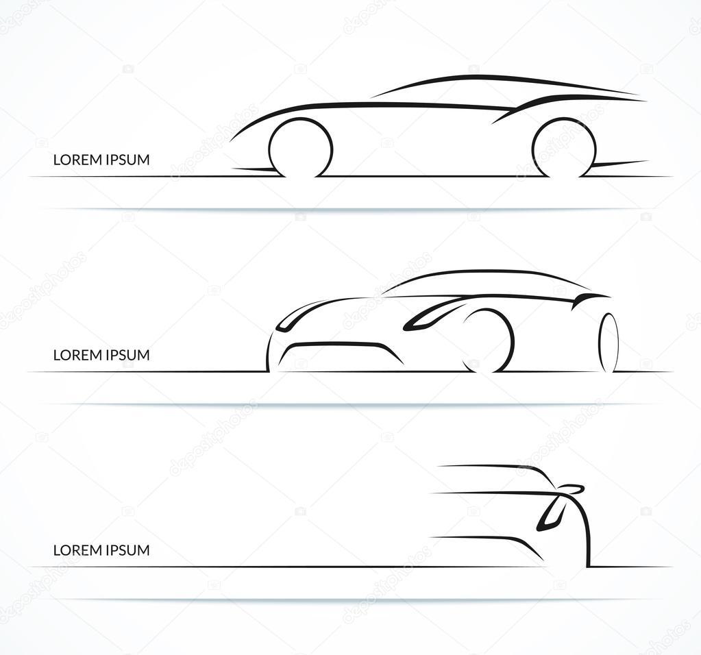 Sports Car Silhouette Set Vector Illustration Stock Vector