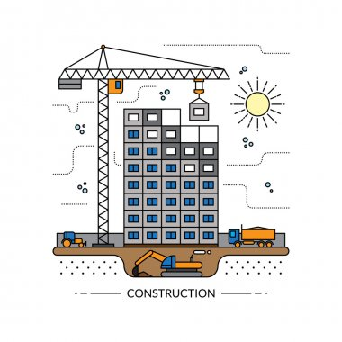 Thin line construction site concept illustration