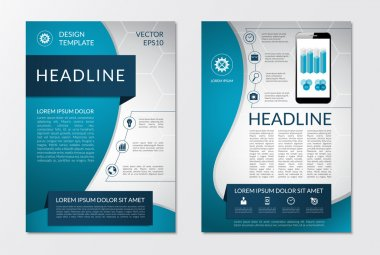 Flyer brochure design layout template with set of business marketing icons and infographic elements