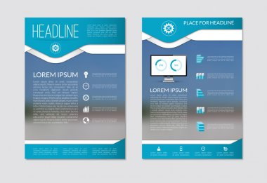 Flyer brochure design layout template with blurred background. A4 size