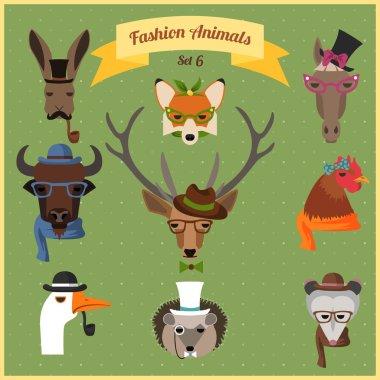 Fashion Hipster Animals set 6