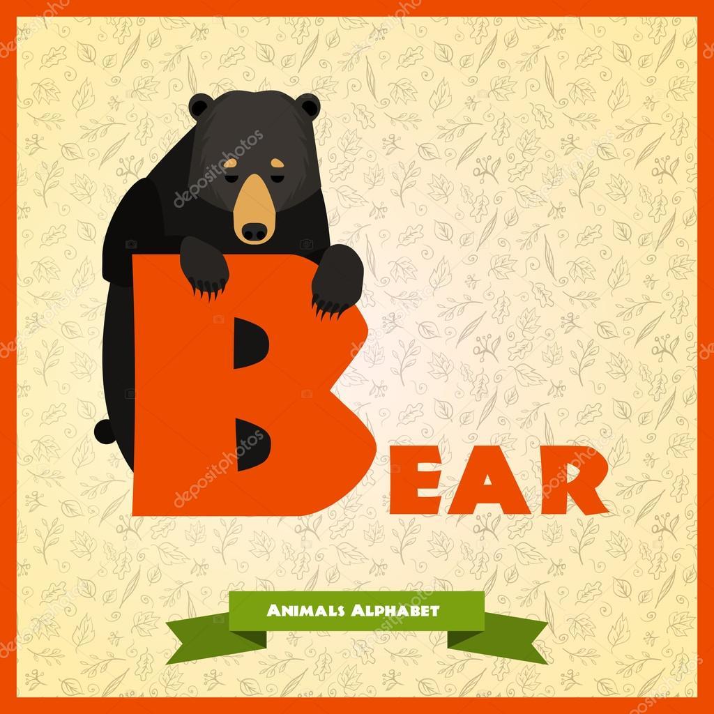 Letra B con oso negro detrás de — Vector de stock © Dashikka #59397481