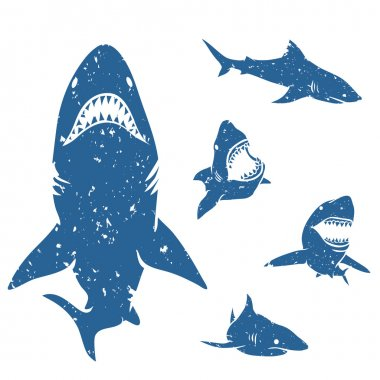 Set of big sharks