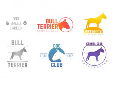 design logotypes, labels set of bill terrier god breed for kennels, breeders, clubs isolated