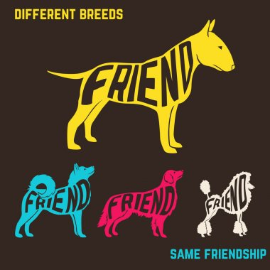 Set of dog breeds silhouettes with text inside.