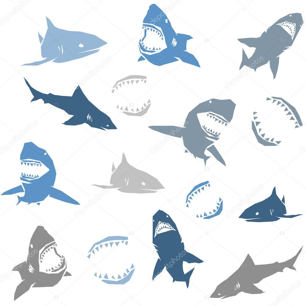 Sharks silhouettes seamless pattern. Isolated blue on white Background