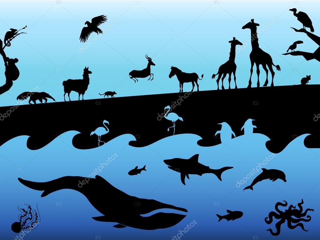 Concept background with animal silhouettes. Black on blue background