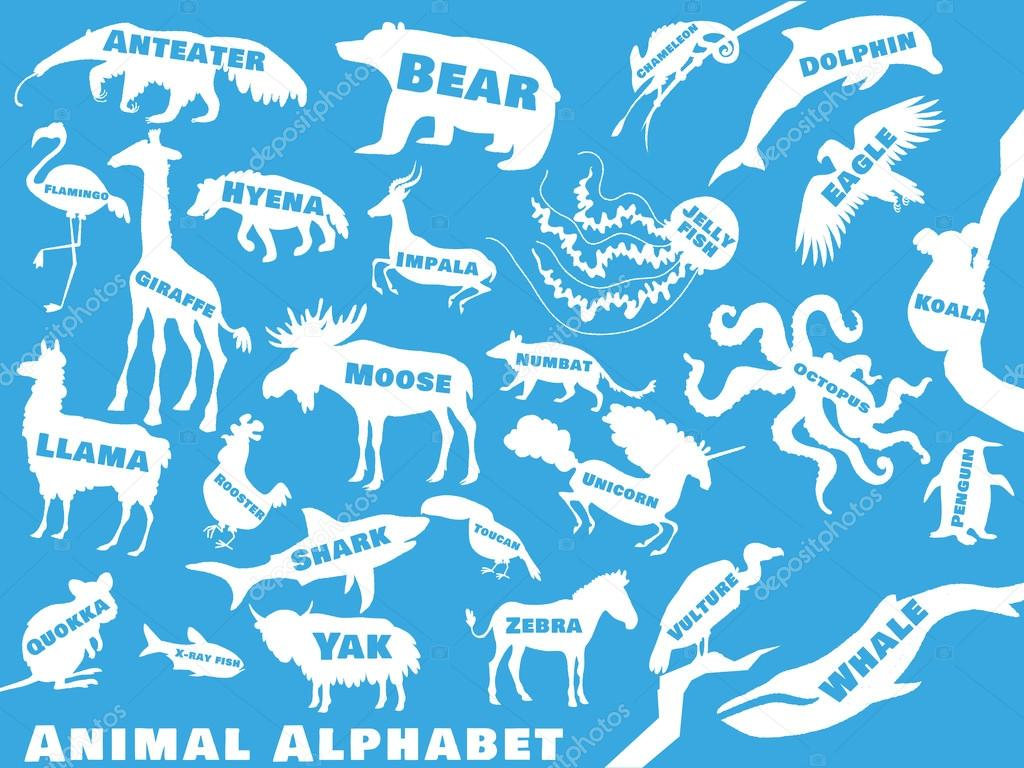 Cute Cartoon Animal Alphabet Poster For Children Animal Silhouettes With Names And Letters Inside Poster Concept From To Vector Illustration Vector By Educateonlinenowclub Animal Alphabet Poster For Children Animals Silhouettes With Names