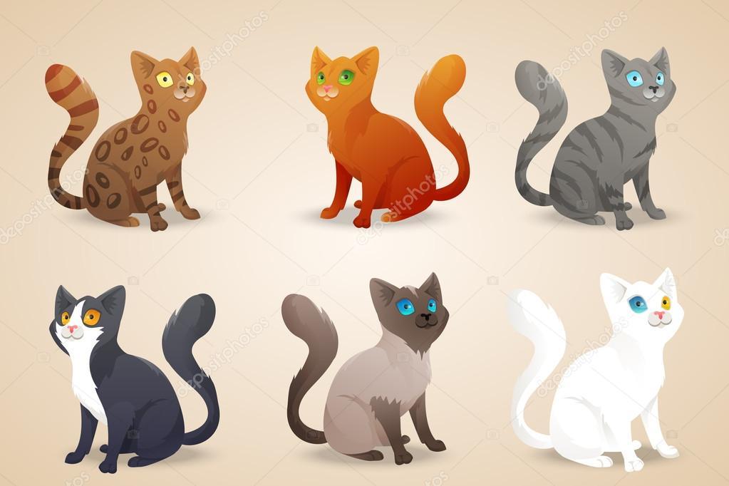 Juego de gatos de dibujos animados lindo con color diferentes de ...
