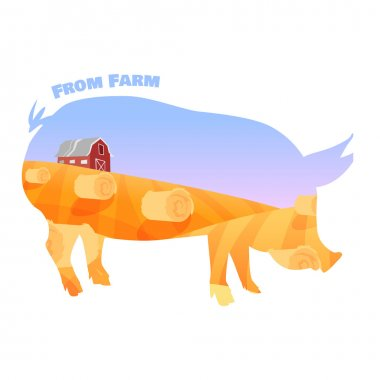Pig silhouette with double exposure of beautiful farm landscape. Concept of fresh farming.