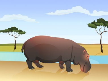 Beautiful wild african animal illustration. Big Hippo standing on the grass with african savannah, water and tree on background.