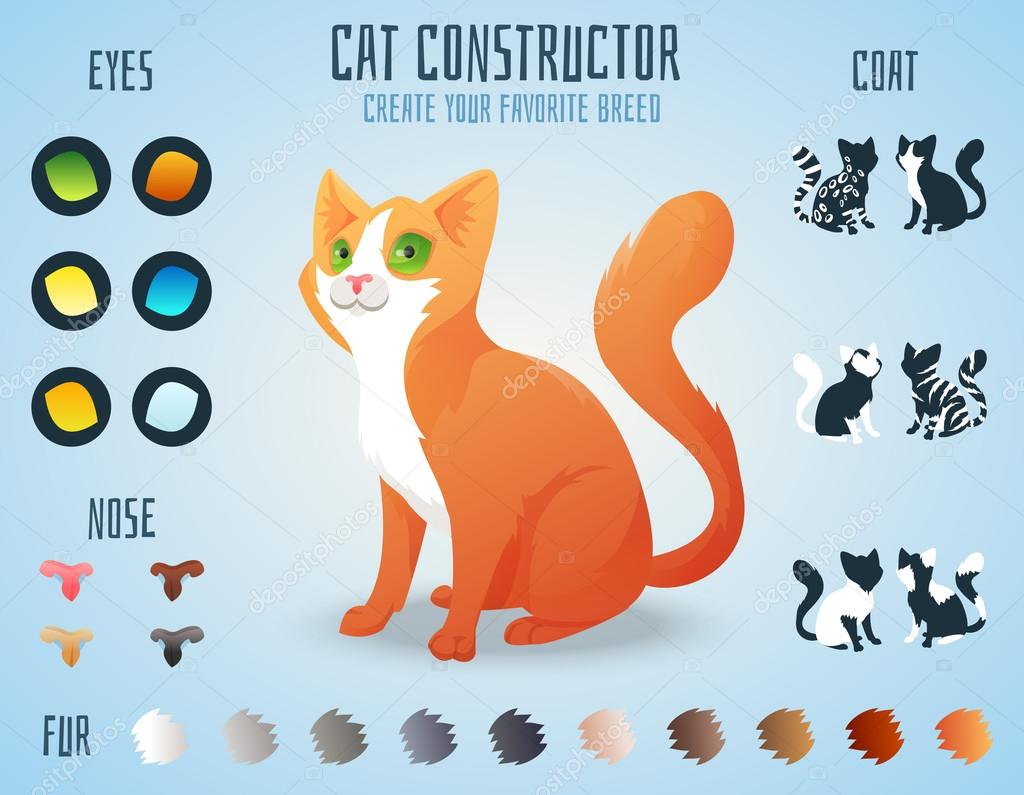 Color of cats fur - Cute Cat Breed Constructor You Can Create Your Own Kitten Breed Change Color Eyes Noses Types Of Coat Vector Illustration Vector By Dashikka