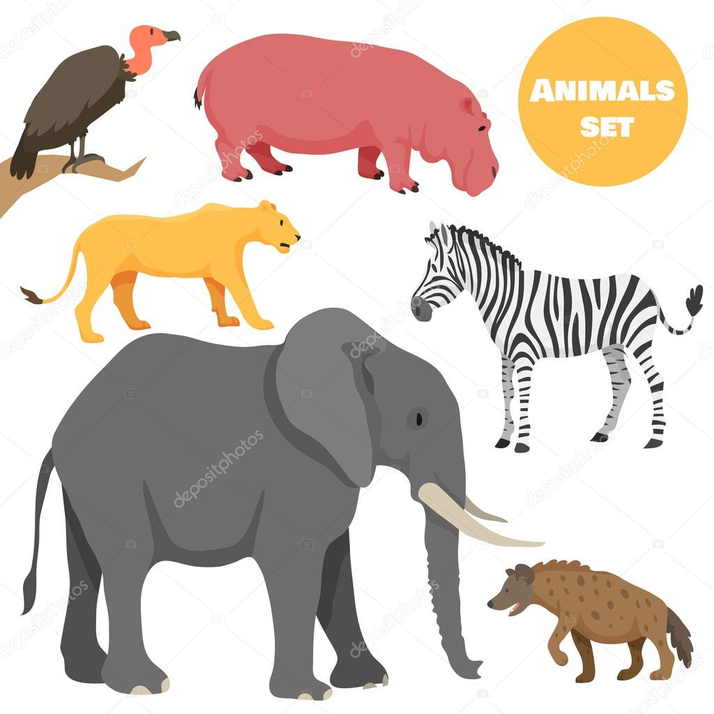 cute african animals set for kids in cartoon style suitable for
