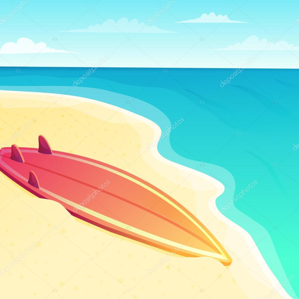Beautiful beach seascape with surf board on the sand and blue ocean water on the background. Vector illustration.