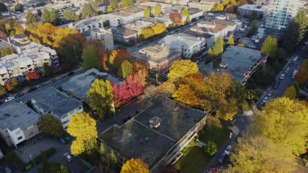 Luftaufnahme der kanadischen Nachbarschaft mit roten, gelben und grünen Bäumen