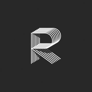 Isometric letter R logo mockup