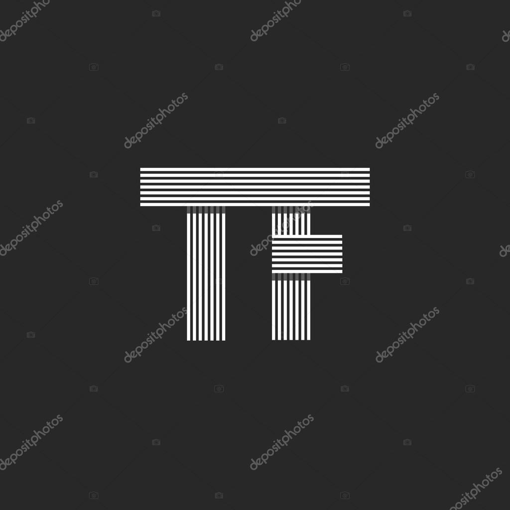 Hochzeit Einladung Initialen Tf Buchstaben Logo Monogramm, überlappende  Parallele Dünne Linie Visitenkarte T F Wappen U2014 Vektor Von UASUMY