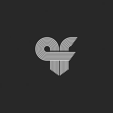 Monogram combination initials qf
