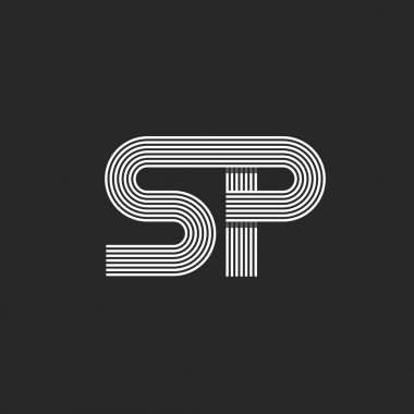 Hipster initials SP logo letters
