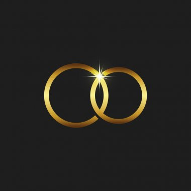 Wedding gold rings icon