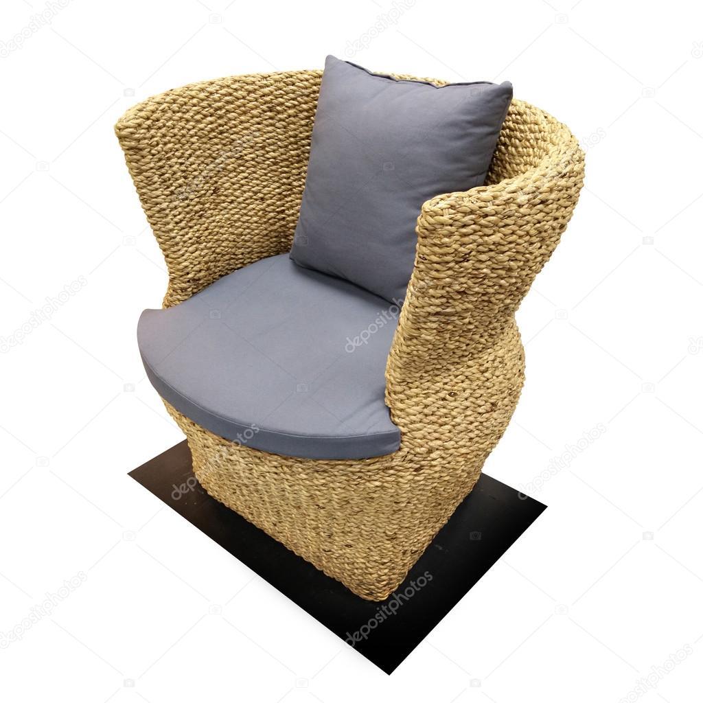 Wasserhyazinthe Korbmöbel Stuhl Zu Isolieren Auf Weißen Backgroun
