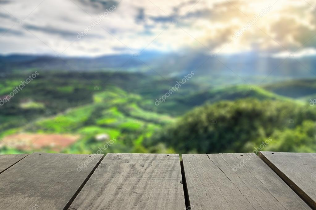 Defocused and blur image of scenery top view from terrace house in chiangmai for background usage