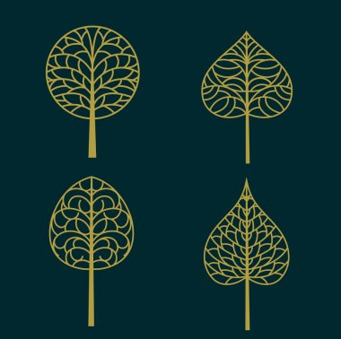 Set of gold Tree symbol isolated on dark background, vector illustration