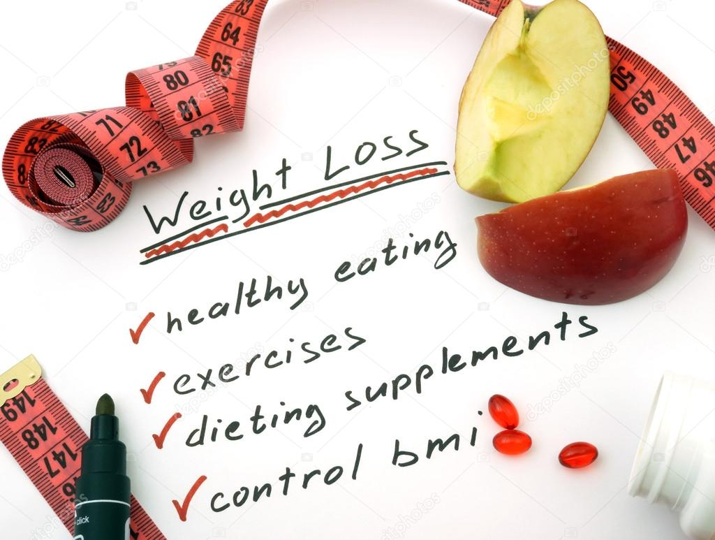 Weight loss, healthy eating, dieting supplements and control bmi