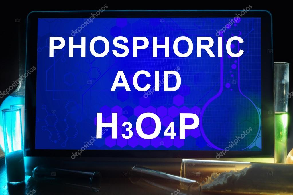 Tablet With Chemical Formula Of Phosphoric Acid Stock Photo