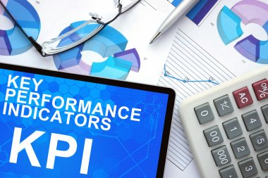 Tablet with Key Performance Indicators, KPI .