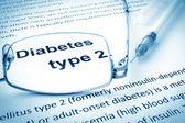 Papír s slova diabetu typu 2 a brýle