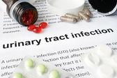 Paper with urinary tract infection  and pills.
