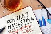 Poznámkový blok s slova obsahu marketingové koncepce