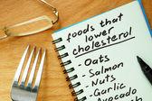 Carta con gli alimenti che abbassano elenco di colesterolo su un tagliere di legno