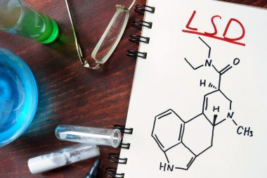 Notepad with chemical formula of LSD