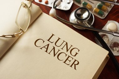 Book with diagnosis  lung cancer.