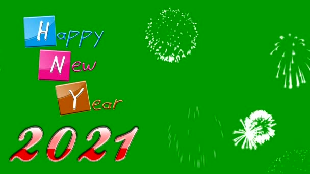 Šťastný nový rok 2021 pohybová grafika se zelenou obrazovkou pozadí