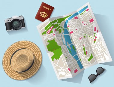 Travel - tourist map and other equipment