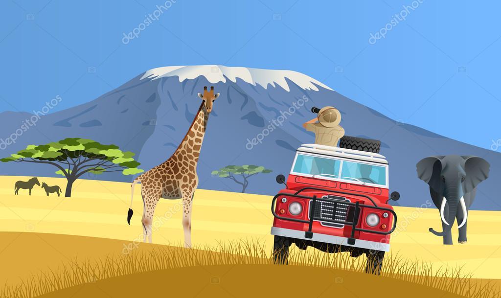 Safari truck in African savannah