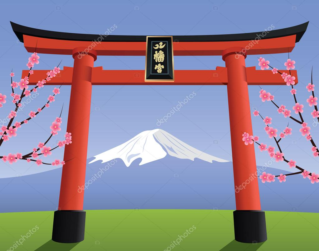 Japanese Torii gate and Fuji mountain — Stock Vector ...