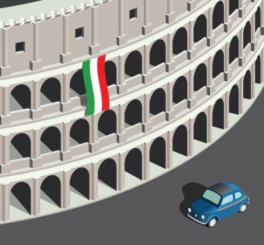 Isometric Colosseum and vintage italian car